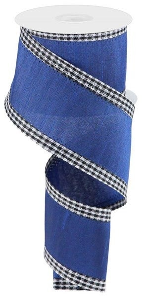 "2.5""X10yd Faux Dupioni Mini Gingham Edge Royal Blue/Black/White"
