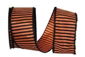 HAL 9 - Striped Frill Wired Edge, Orange/black, 2-1/2 Inch, 20 Yards