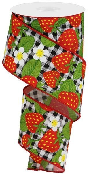 """2.5""""X10yd Strawberries On Check Red/Black/White"""