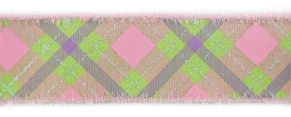"""2.5""""X10yd Irid Glitter Plaid/Royal/Drift Brt Grn/Pink/Lav/Irid Wht"""