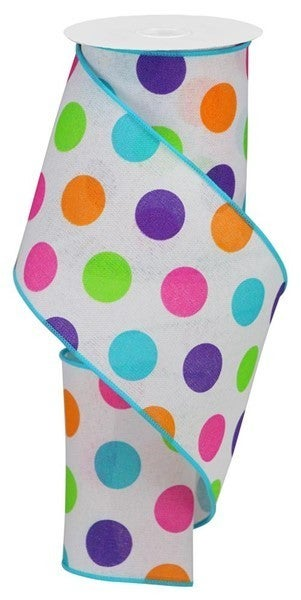 "4""X10yd Multi Polka Dots/Royal Color: Wht/Prpl/Pnk/Orng/Lm/Turq"