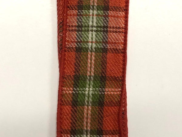 "Moss-Brown-Ivory-Rust Plaid 1.5""x10yd"