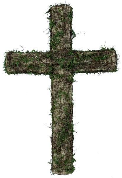"""20""""H Burlap/Moss Cross"""