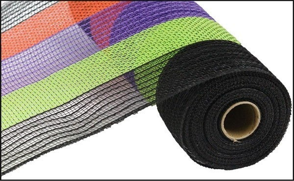 "21""X10yd Poly/Faux Jute Wide Stripe Color: Black/Orange/Purple/Lime"