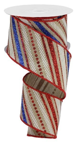 "2.5""X10yd Multi Diagonal Stripes/Royal Lt. Beige/Red/Blue/White"