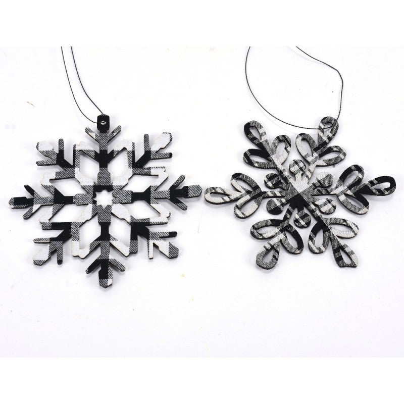 CHECK SNOWFLAKE ORN Set of 2