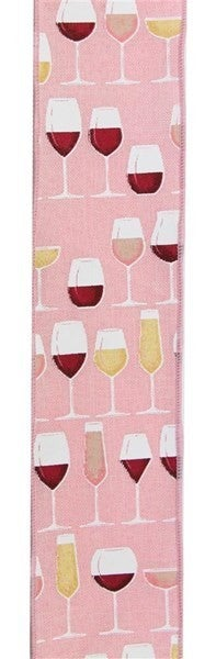 "2.5""X10yd Wine Glasses On Royal Burlap Color: Rose/Crm/Wht/Gld/Pnk"