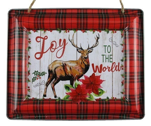 "12""L X 9.5""H Joy To The World/Deer Sign"