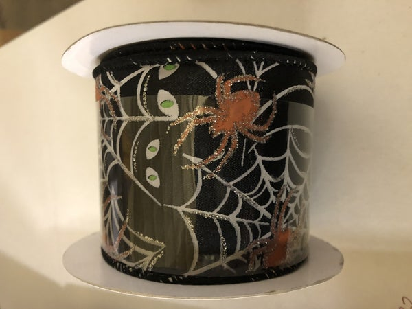 Spider Web Glitter Wired Edge, Black, 2-1/2 Inch, 10 Yards