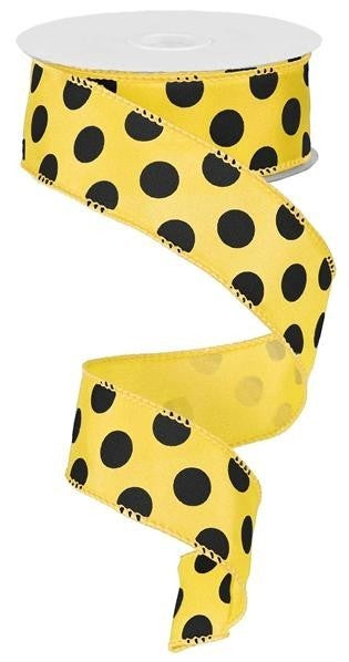 "1.5""X10YD LARGE POLKA DOT Yellow Black"