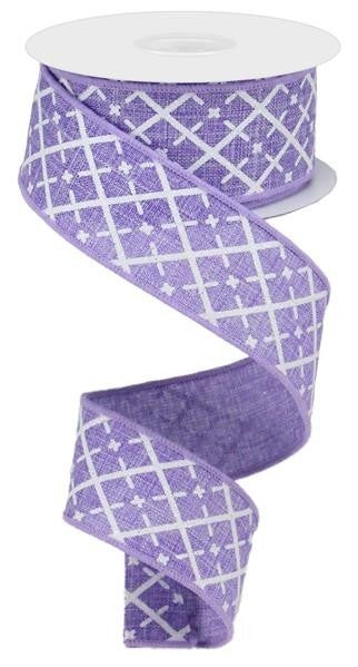 "1.5""X10YD GLITTERED ARGYLE ON ROYAL LAVENDER/WHITE/SILVER"