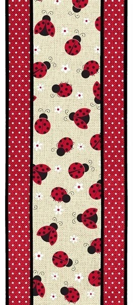 "4""X10yd 2 In 1 Ladybugs On Swiss Dots Light Beige"