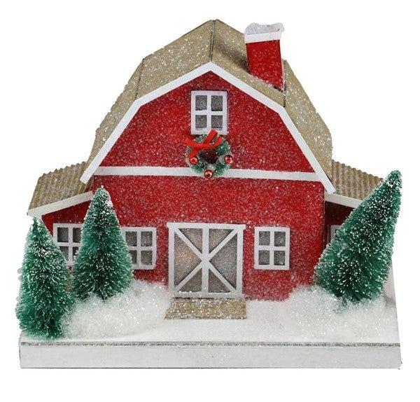 "9.5""L X 8""H Paper Barn House Orn W/Led"