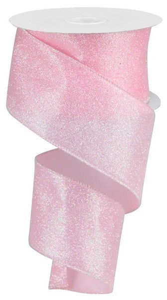 "2.5""X10yd Iridescent Glitter On Satin Light Pink/Iridescent"