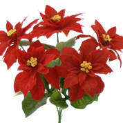 "Color Fast Velvet 5"" Poinsettia bush x 6"