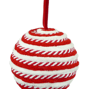 ORN Peppermint Ball DIA4  White/REd