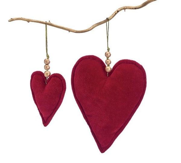ORN RED VELVET HEART  Set of 2