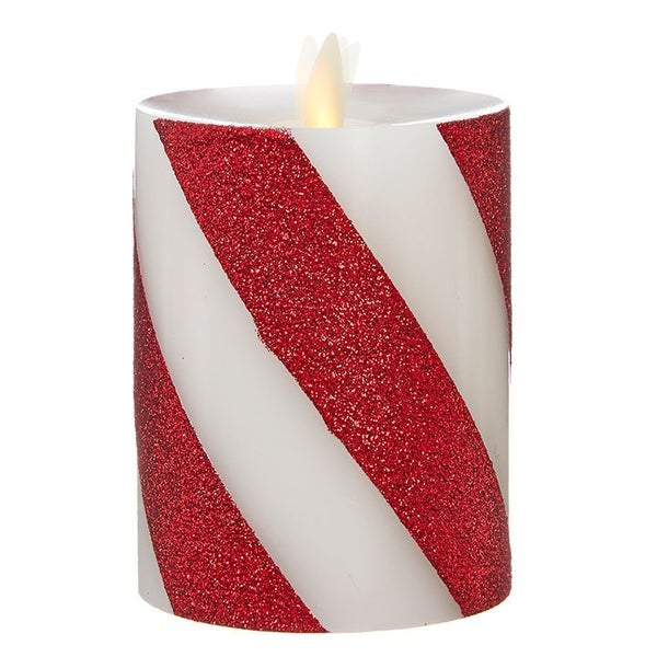 "3""X4"" Moving Flame Red and White Striped Pillar"