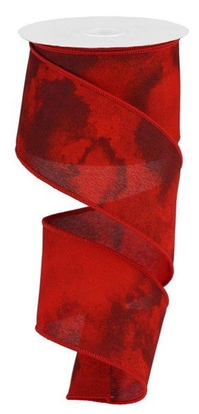 "2.5""x10yd watercolor blend com/brgdy/cranberry/red"