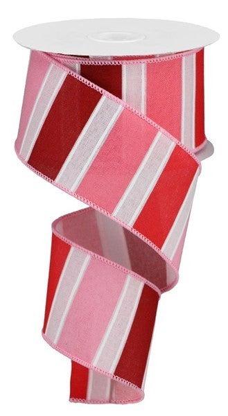 "2.5""X10yd Bold Stripes On Royal Powder Pink/Red/Wht"