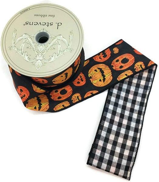 "2.5"" x 10yds faux linen jack o lanterns check back, black/orange Black Edge..."