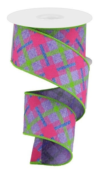 "2.5""X10yd Printed Plaid On Royal Color: Lav/Lime/Hot Pink/Blue"