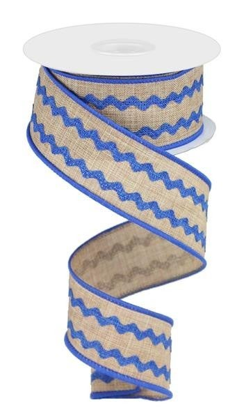 "1.5""X10YD RICRAC     LIGHT BEIGE/ROYAL BLUE"