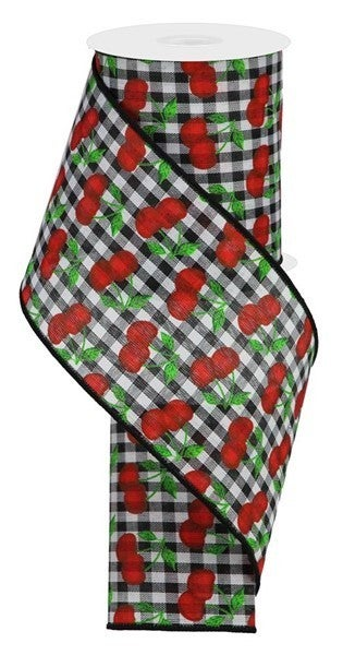 """4""""X10yd Cherries On Gingham Check Black/White/Red/Green"""