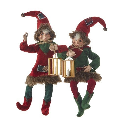 """16"""" PATCHWORK POSABLE ELF To Grandmothers House We Go"""