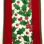 "Bright Red Velvet Holly Canvas Center 4""x10yd"