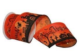 Halloween Scene 2 Wired Edge, Orange, 2-1/2 Inch, 10 Yards