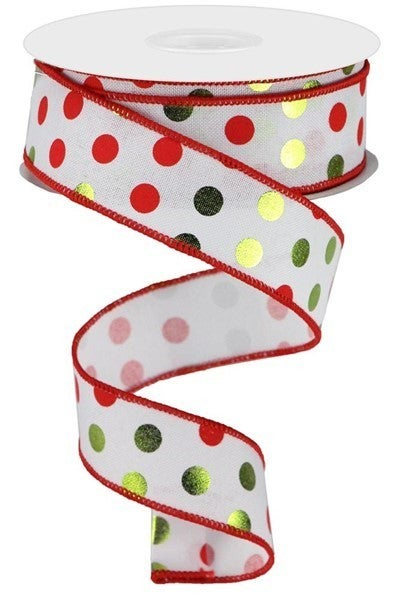 "1.5""X10yd Metallic Dots On Royal White/Lime/Red"