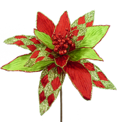 Harlequin Poinsettia Pick W12xH13 Red/Green