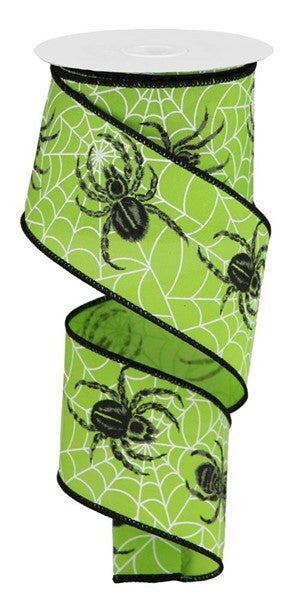 "2.5""X10yd Spider Web/Spider On Pg Fabric Lime Green"