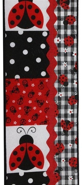 "4""X10yd 3-In-1 Ladybug Ribbon/Ricrac Color: White/Red/Black"