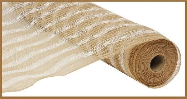 "21""X10yd Poly/Jute/Snowball Mesh Natural/white"