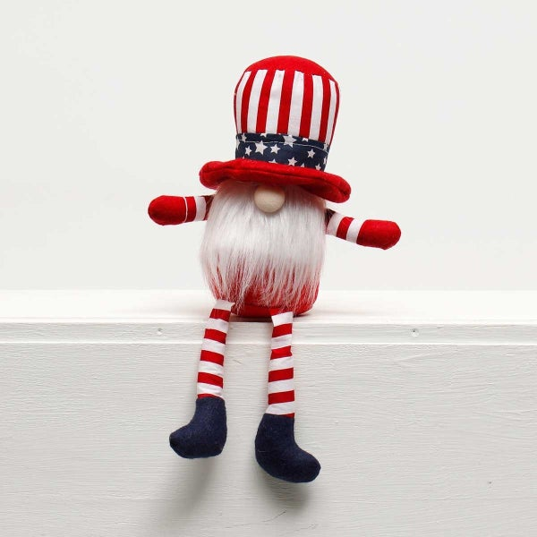 "UNCLE SAM GNOME with AMERICANO HAT UNCLE SAM GNOME with AMERICANO HAT and FLOPPY LEGS 8""X3""X13"""