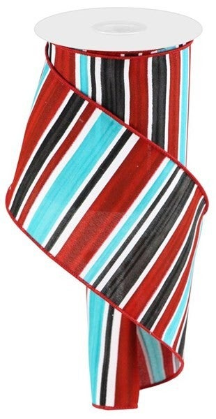 """4""""X10yd Multi Width Horizontal Stripe Color: White/Red/Blk/Ice Blue"""