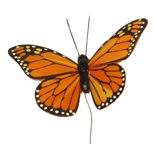 """3.25"""" Monarch Butterfly W/10""""Wire (12)"""