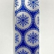 "White Shiny Satin/Royal Blue Snowflake Dots 1.5""x10yd"