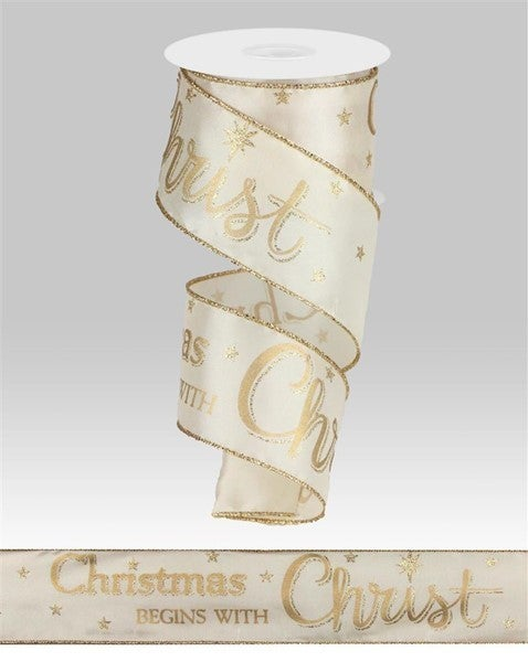 """2.5""""X10yd Christmas Begins With Christ Ivory/Gold"""