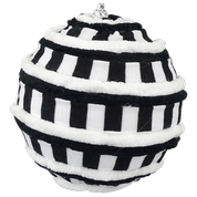 Orn Chenille Stripe Ball DIA4 Black/White