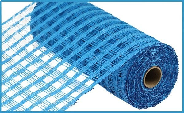"10""X10YD POLY BURLAP CHECK MESH Blue"