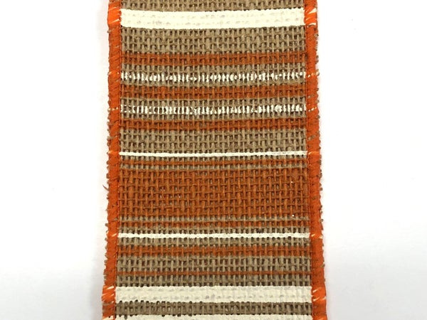"Faux Burlap/Orange Cream Stripes 2.5""x10yd"