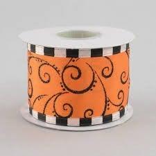 Halloween Swirl Mix Wired Edge, Orange/black, 2-1/2 Inch, 10 Yards