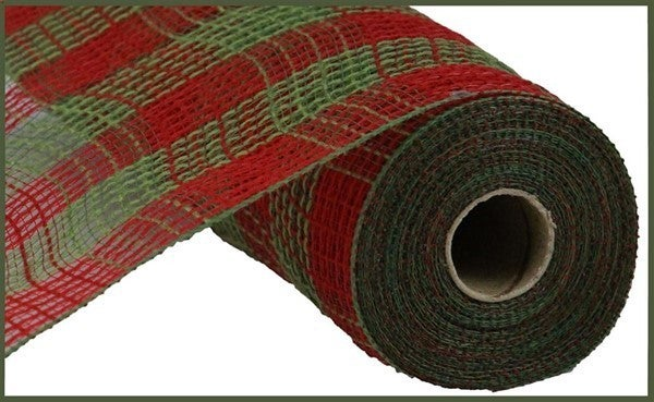 "10.5""X10yd Faux Jute/Pp Small Check Red/Moss Green"