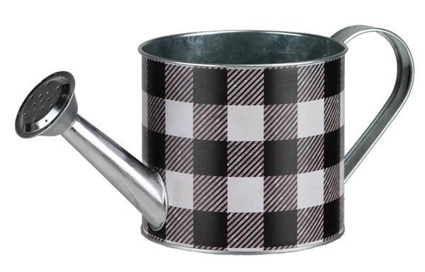 "4.75""Dia X 10.5""L Check Watering Can Black/White"