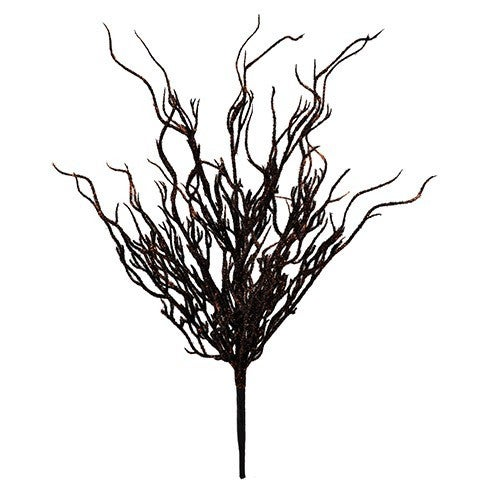 Glitter Willow Bush: Black/Orange, 20 Inches