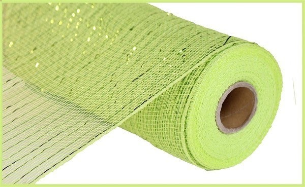 "10.25""X10YD METALLIC MESH Color: Apple Green W/Lime Foil"