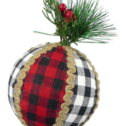 Orn Plaid Pine Needle Ball DIA4.5 BLack/Wh Red/Black
